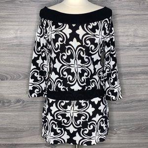 White House Black Market Paisley Knit Sweater Dres